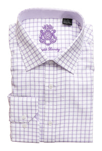 English Laundry Men's White with Purple Check Dress Shirt