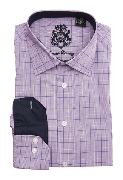 English Laundry Purple Plaid Men's Dress Shirt