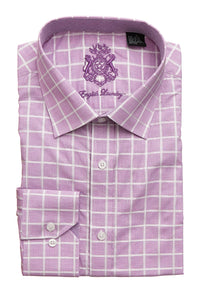 English Laundry Men's Purple with Large White Checks Dress Shirt