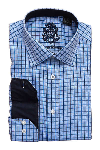 English Laundry Men's Blue with Navy Check Dress Shirt