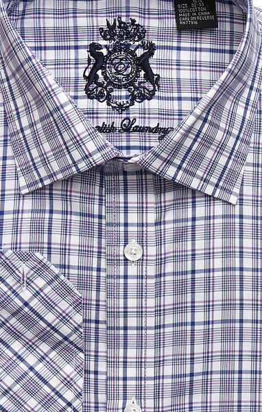 English Laundry Men's Blue and Purple Plaid Dress Shirt