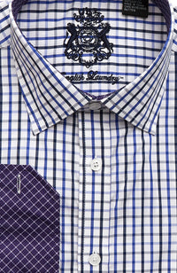 English Laundry Men's Blue and Black Check Dress Shirt