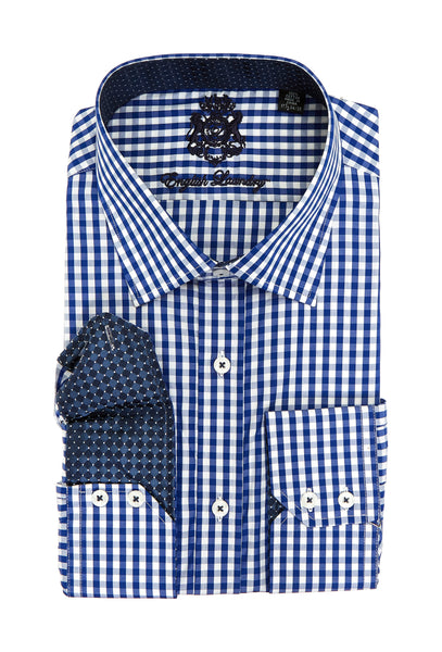 English Laundry Blue Checked Long Sleeve Dress Shirt