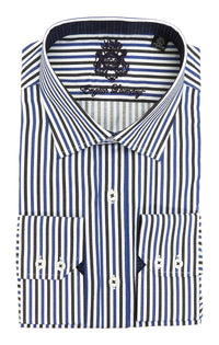English Laundry Black and Blue Striped Long Sleeve Dress Shirt