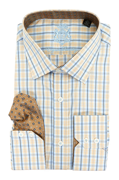 English Laundry Yellow and Blue Checked Long Sleeve Dress Shirt