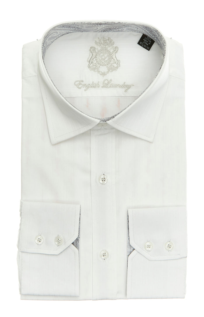 White on White Pin Stripe Dress Shirt with Contrast Collar and Cuffs
