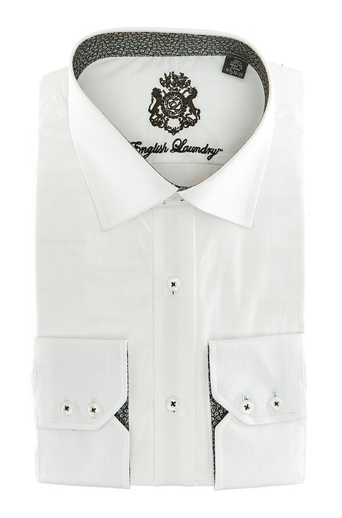 White on White Pattern Dress Shirt with Contrast Inner Collar and Cuffs