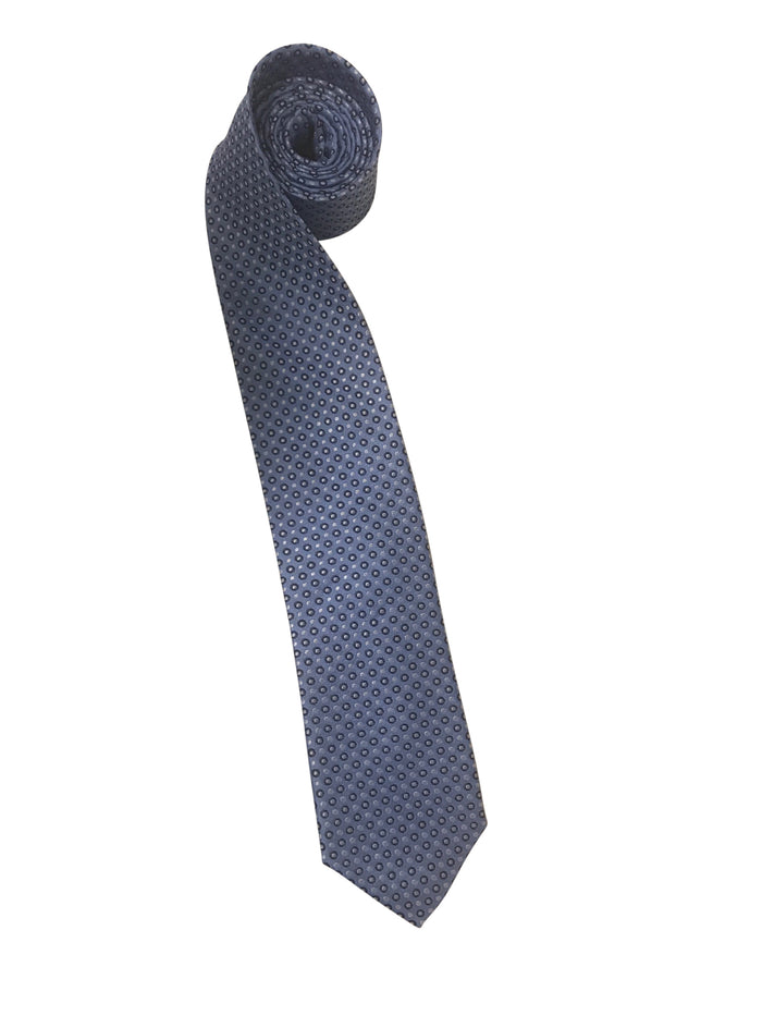 Light Blue Tie with Navy Circles and Silver/White Pindots