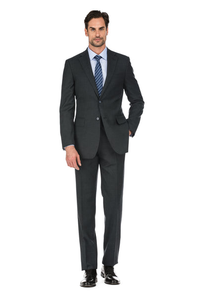 Black Men's 2-Piece Slim Fit Two Button Plaid Wool Suit