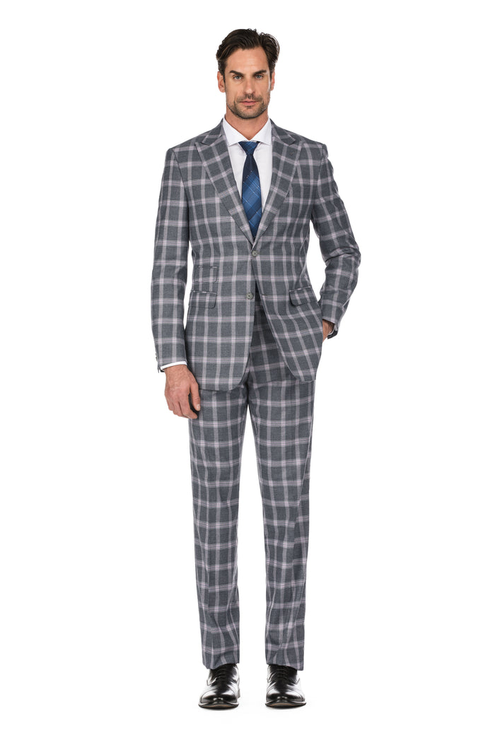Grey Men's 2-Piece Slim Fit Windowpane Check Suit