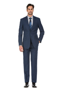 Navy Men's Slim Fit Two Button Plaid Wool Suit