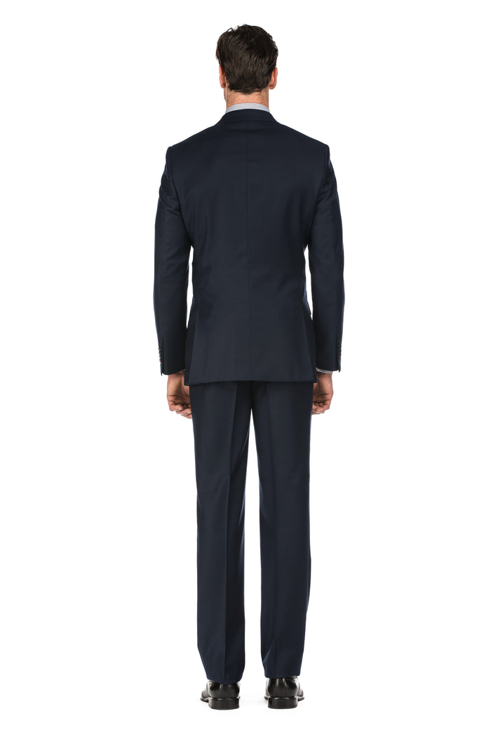 Dark Navy Men's Slim Fit Two Button Solid Wool Suit
