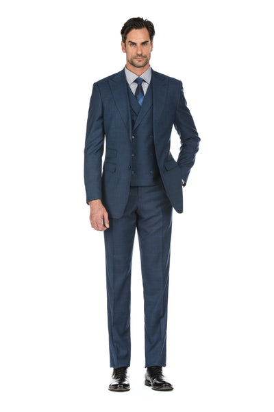 Navy Men's Slim Fit 3-Piece Two Button Windowpane Check Suit