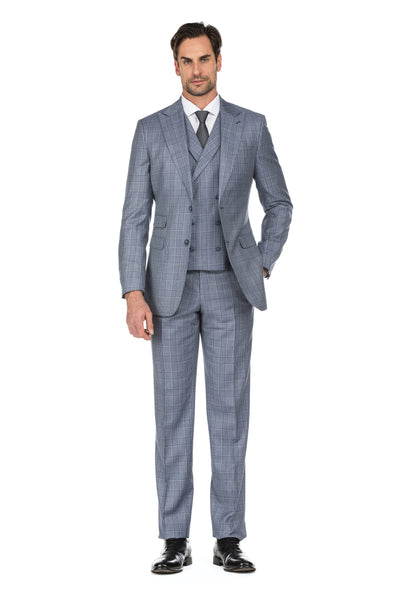 Grey Men's Slim Fit 3-Piece Two Button Windowpane Check Suit