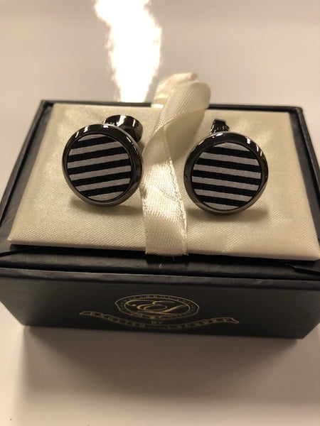Black and White Stripe Zebra Cufflinks with Pewter Metal Casing