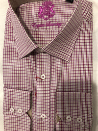 English Laundry Men's Gold and Red Check Dress Shirt