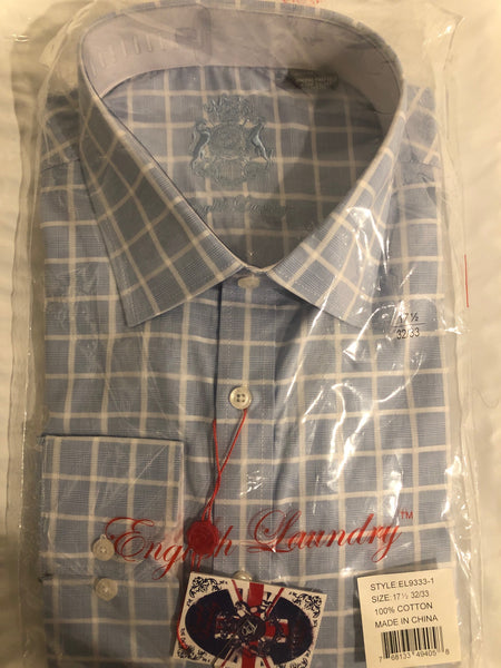 English Laundry Men's Blue and White Check Dress Shirt