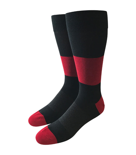 Black & Red Colorblock Socks