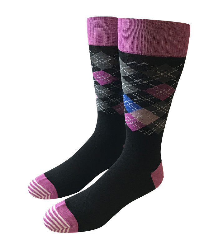 Black & Purple Argyle Socks