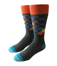 Grey & Orange Argyle Socks