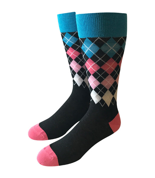 Black & Pink Argyle Socks