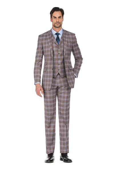 Light Brown and Blue Plaid Men's Slim Fit 3-Piece Notch Lapel Windowpane Suit