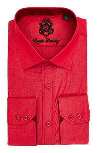 English Laundry Red Solid Long Sleeve Dress Shirt