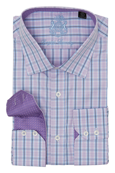PURPLE AND BLUE PLAID DRESS SHIRT