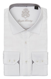 White on White Striped Dress Shirt