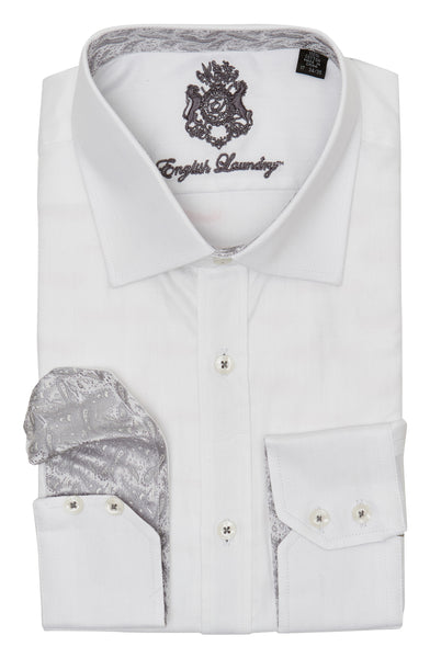 White on White Herringbone Dress Shirt