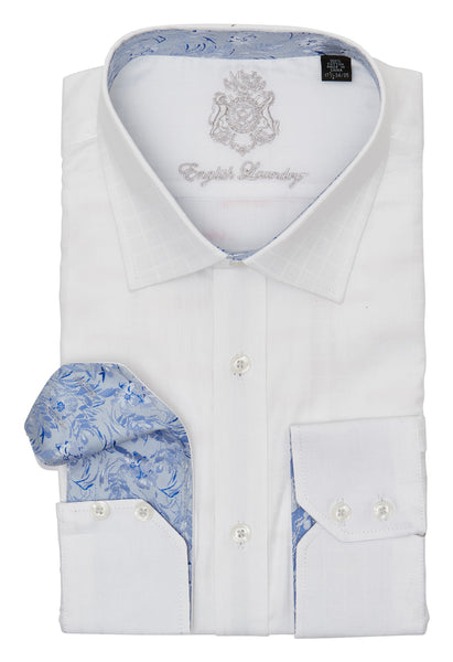 WHITE ON WHITE CHECKERED DRESS SHIRT
