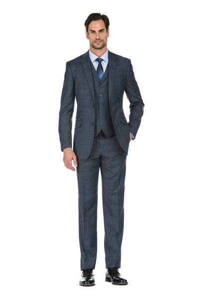 Navy Plaid Men's Slim Fit 3-Piece Notch Lapel Glen Plaid Wool Suit