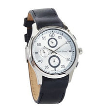 Round White Face with Black Leather Strap Watch