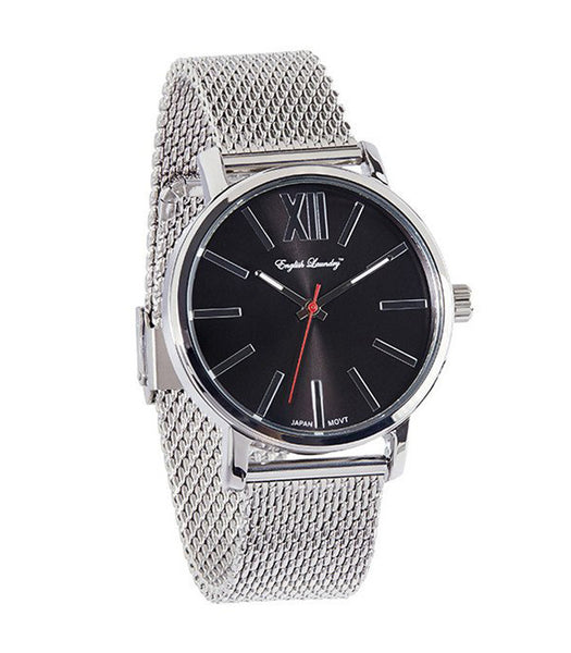 Round Black Face with Silver Mesh Strap Watch