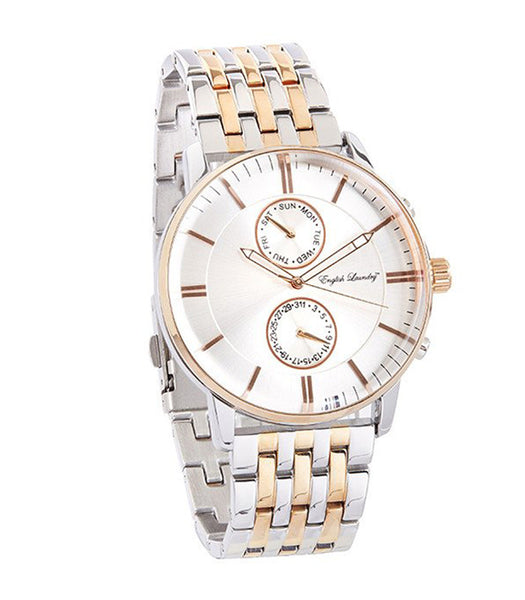 Round Silver Face with Silver/Rose Gold Chainlink Strap Watch