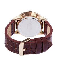 Round Silver Face with Brown Leather Strap Watch