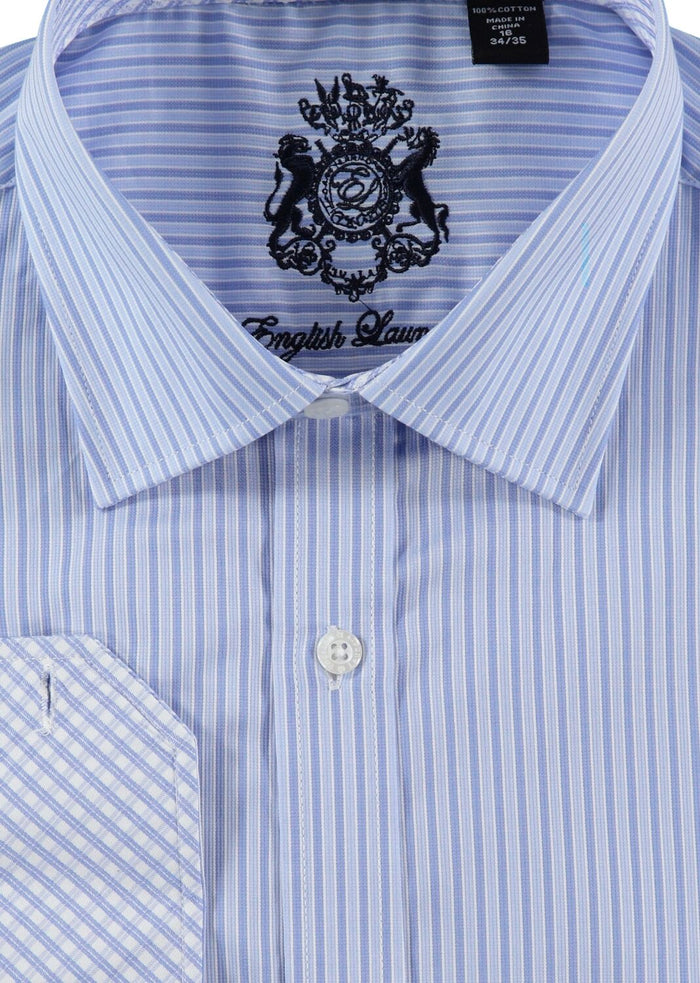 English Laundry Blue Striped Dress Shirt