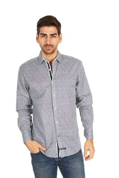 English Laundry Grey Paisley Patterned Sport Shirt