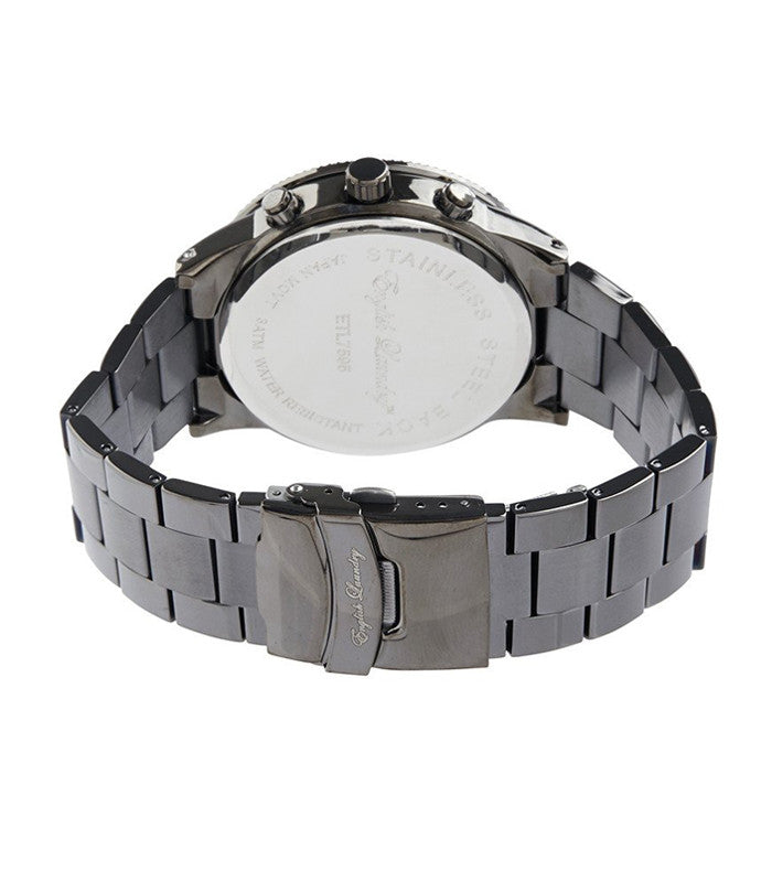 Round Black Face with Gunmetal Chainlink Strap Watch