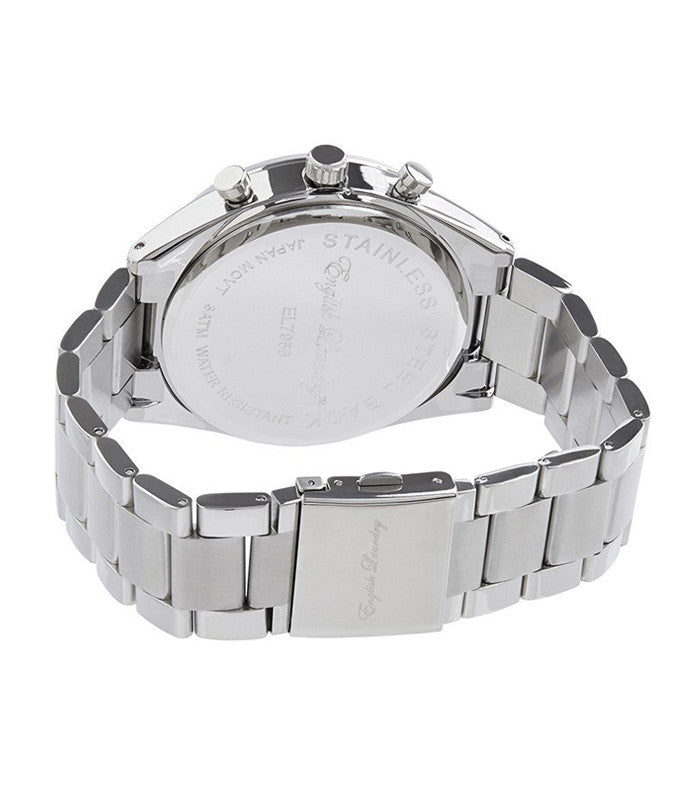 Round Black Face with Silver Chainlink Strap Watch