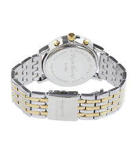 Round Navy Face with Silver/Gold Chainlink Strap Watch