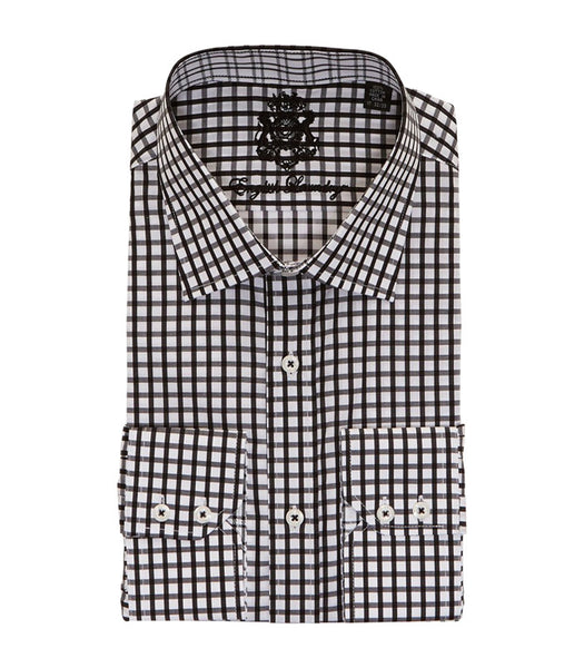 BLACK CHECKERED BUTTON DOWN DRESS SHIRT