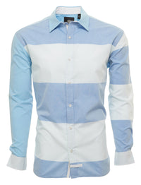 LONG SLEEVE BUTTON DOWN RUGBY  STRIPE SHIRT