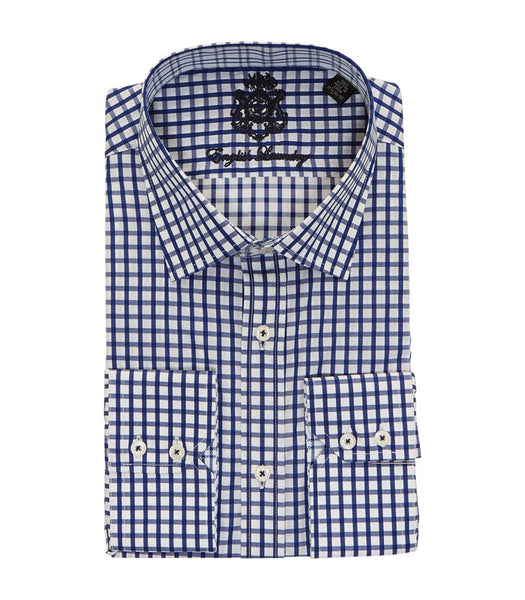 NAVY CHECKERED BUTTON DOWN DRESS SHIRT