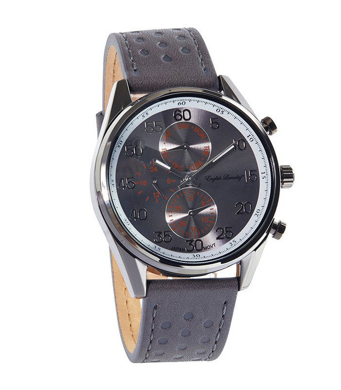 Round Gunmetal Face with Black Leather Strap Watch