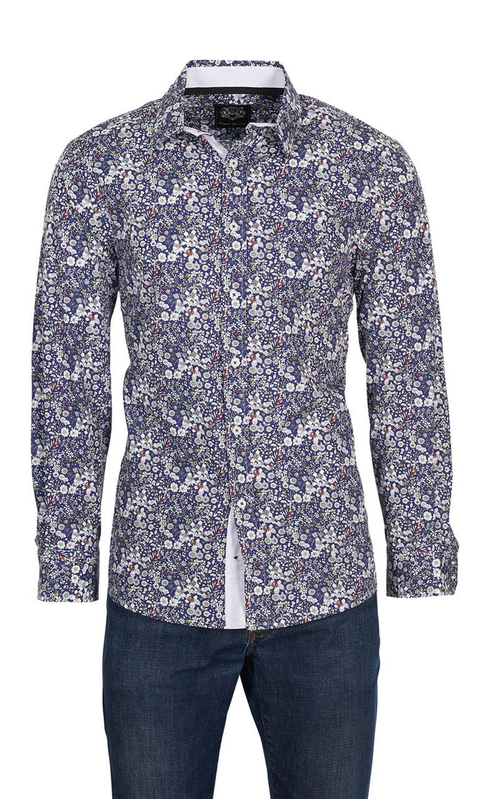 English Laundry Blue with Floral Print Sport Shirt