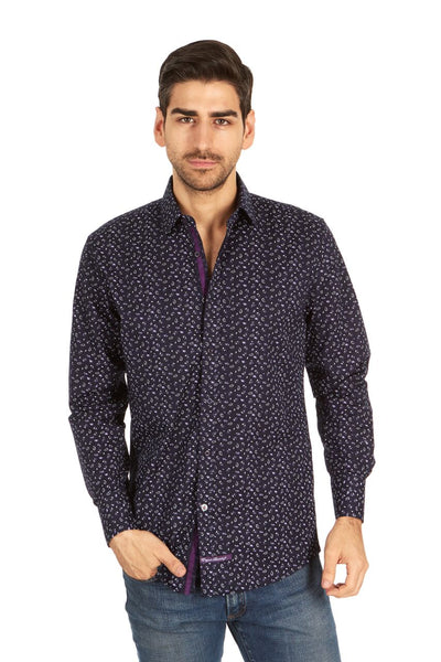 English Laundry Navy Blue Paisley Print Sport Shirt