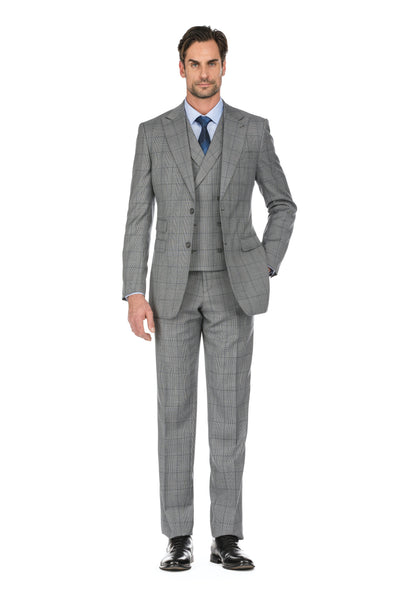 Grey Men's 3 Piece Slim Fit Two Button Check Wool Suit