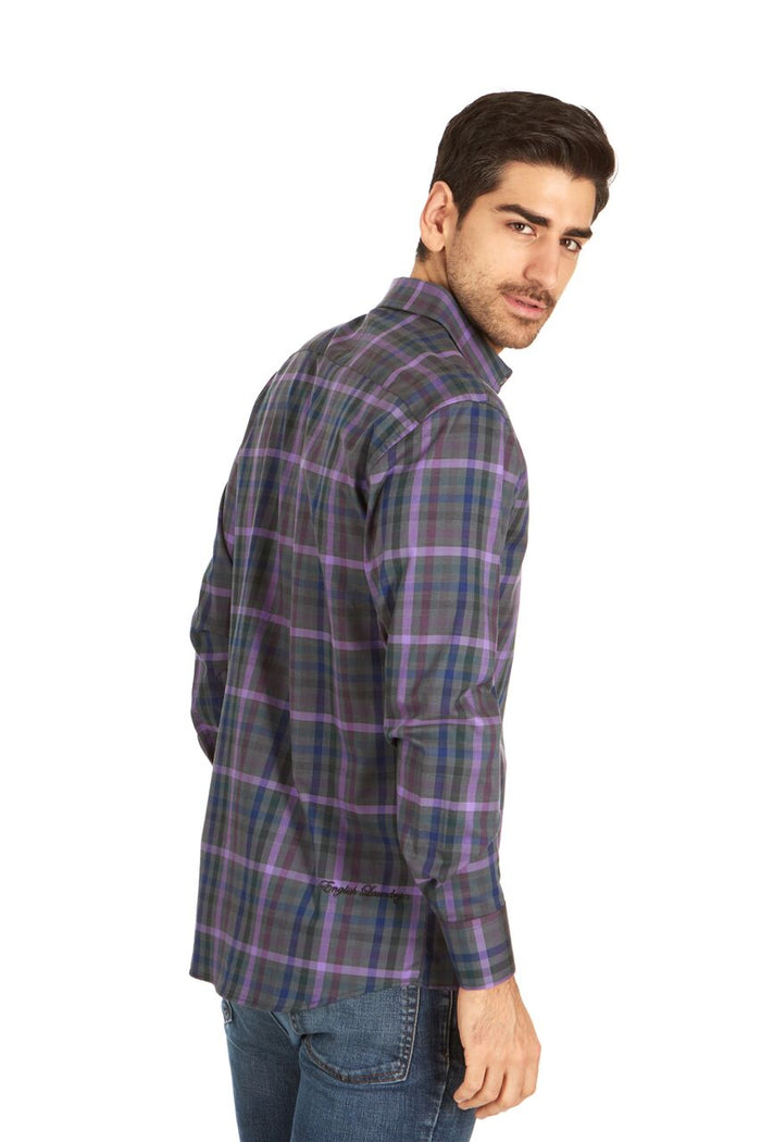 English Laundry Dark Grey and Purple Plaid Sport Shirt