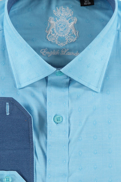 Turq Blue Pin Dot Cotton Dress Shirt